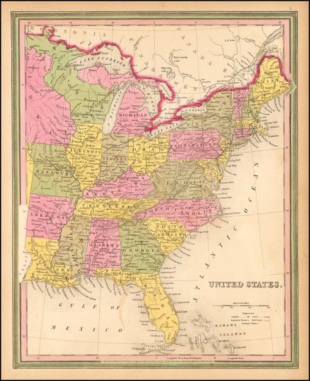 87-United States Map By Samuel Augustus Mitchell