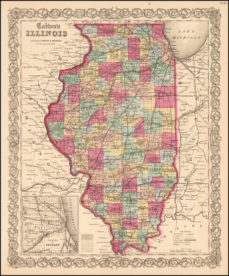 64-Midwest and Illinois Map By Joseph Hutchins Colton