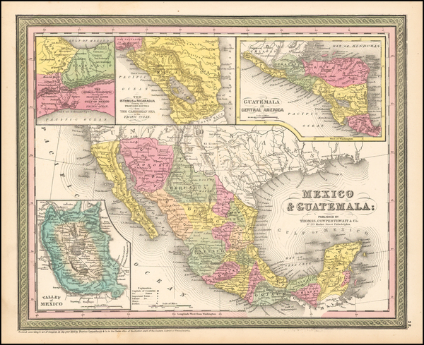 Texas, Southwest, Mexico and California Map By Thomas, Cowperthwait & Co.