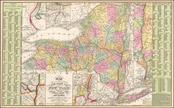 96-New York State Map By Thomas, Cowperthwait & Co.
