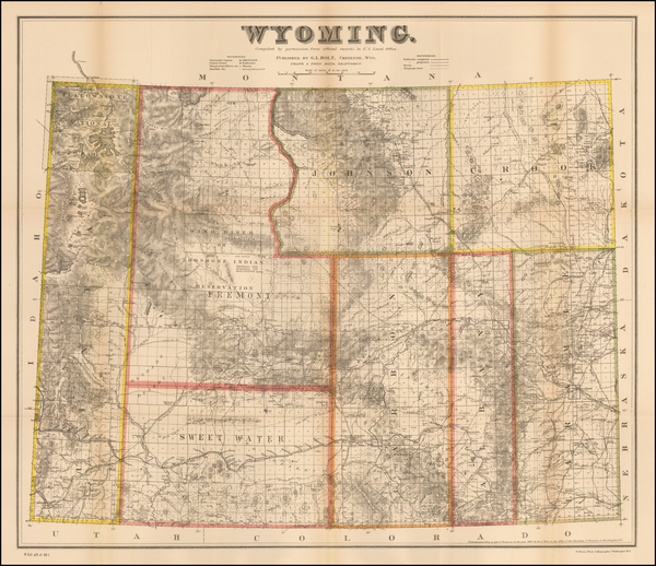 58-Plains, Rocky Mountains and Wyoming Map By G.L. Holt