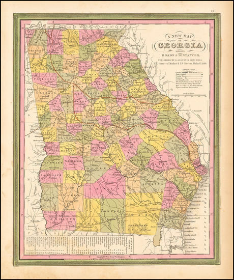 70-Southeast Map By Samuel Augustus Mitchell