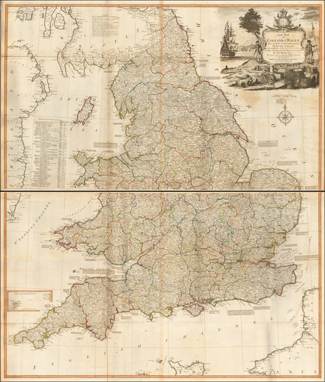61-England Map By James Whittle / Robert Laurie