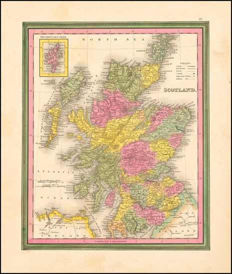 57-Scotland Map By Samuel Augustus Mitchell