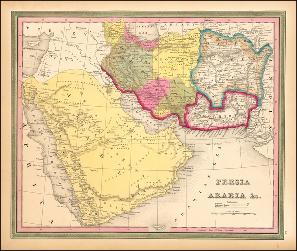 99-Central Asia & Caucasus, Middle East and Persia Map By Samuel Augustus Mitchell