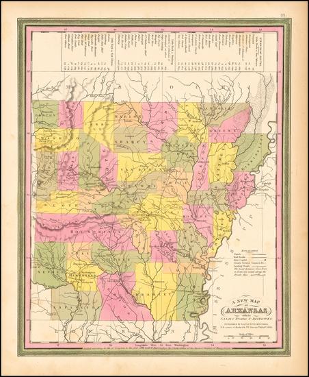 55-Arkansas Map By Samuel Augustus Mitchell