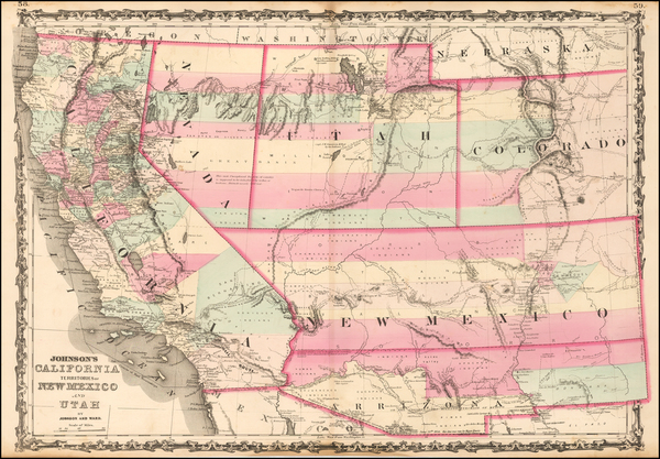 46-Southwest, New Mexico, Rocky Mountains and California Map By Benjamin P Ward  &  Alvin Jewe