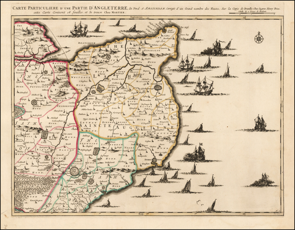 38-England and British Counties Map By Cornelis Mortier