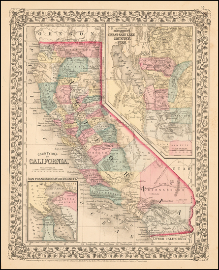 53-California Map By Samuel Augustus Mitchell Jr.