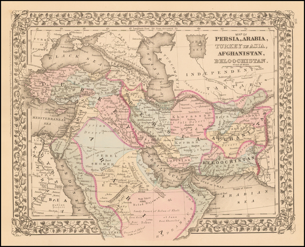 69-Central Asia & Caucasus, Middle East and Turkey & Asia Minor Map By Samuel Augustus Mit
