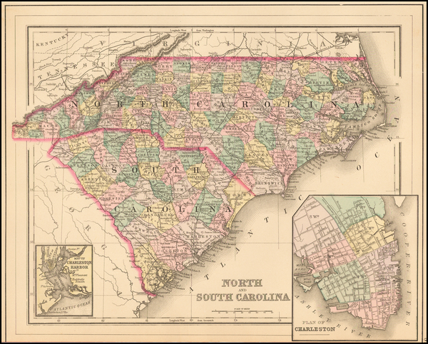 74-Southeast, North Carolina and South Carolina Map By Samuel Augustus Mitchell Jr.