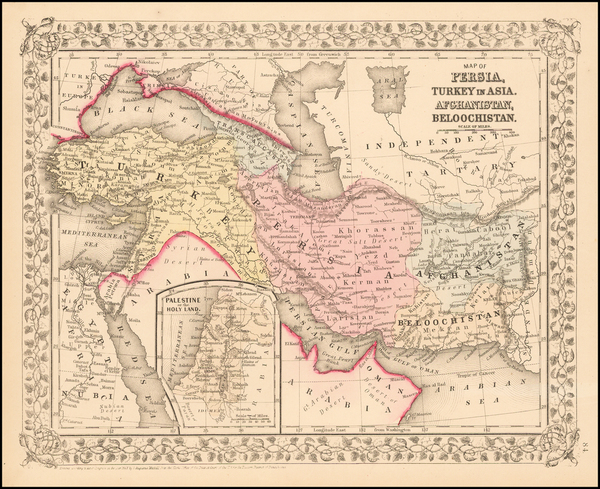 89-Central Asia & Caucasus, Persia & Iraq and Turkey & Asia Minor Map By Samuel August