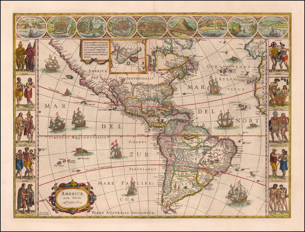 48-Western Hemisphere, South America and America Map By Willem Janszoon Blaeu