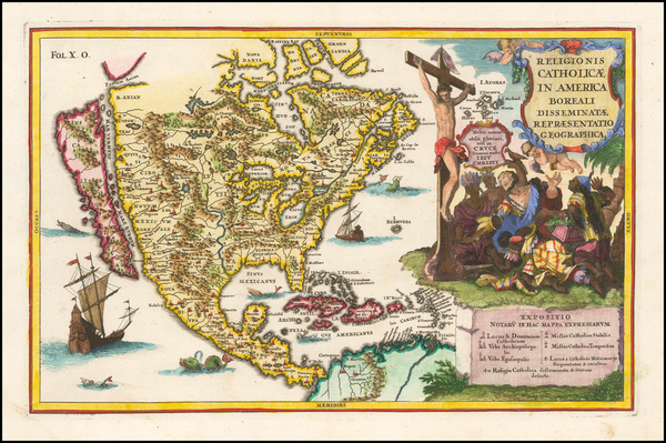 94-North America and California Map By Heinrich Scherer