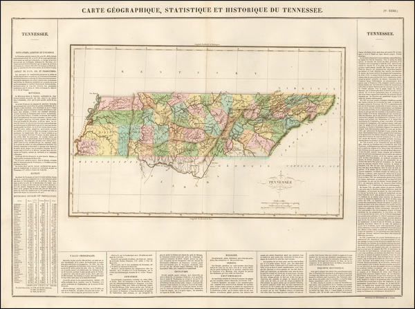 South and Tennessee Map By Jean Alexandre Buchon
