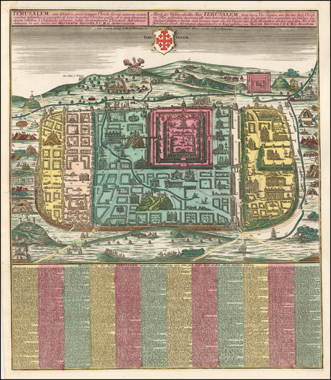 90-Holy Land and Jerusalem Map By Matthaus Seutter