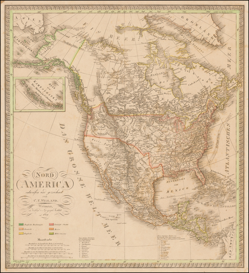 60-North America Map By Carl Ferdinand Weiland