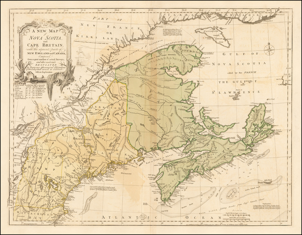 36-New England, Canada and Eastern Canada Map By Thomas Jefferys