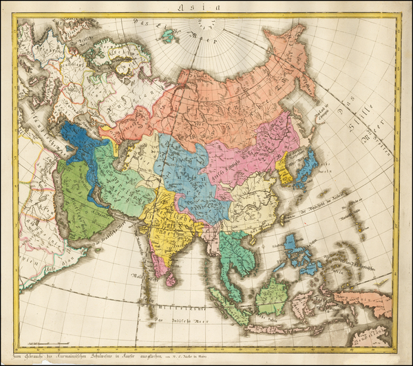 Asia and Asia Map By W. C. Rucker