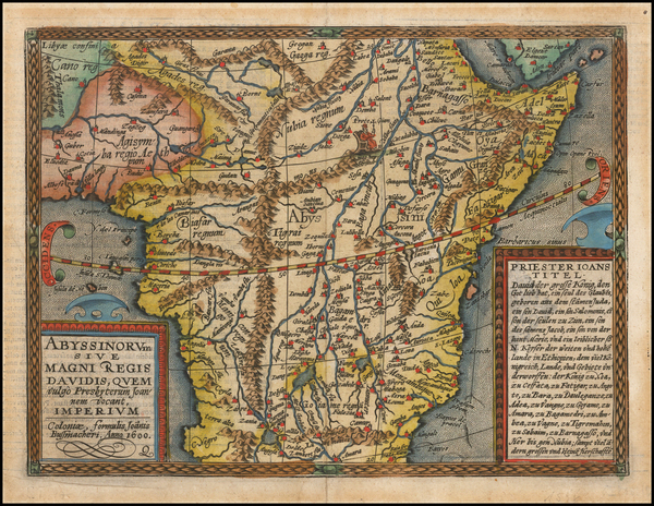 36-Africa and East Africa Map By Matthias Quad / Johann Bussemachaer