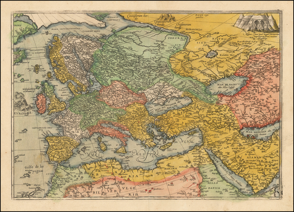 44-World, World, Europe, Europe, Asia, Asia, Middle East and Turkey & Asia Minor Map By Frans