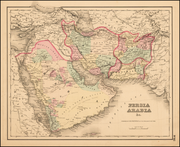76-Central Asia & Caucasus and Middle East Map By Joseph Hutchins Colton