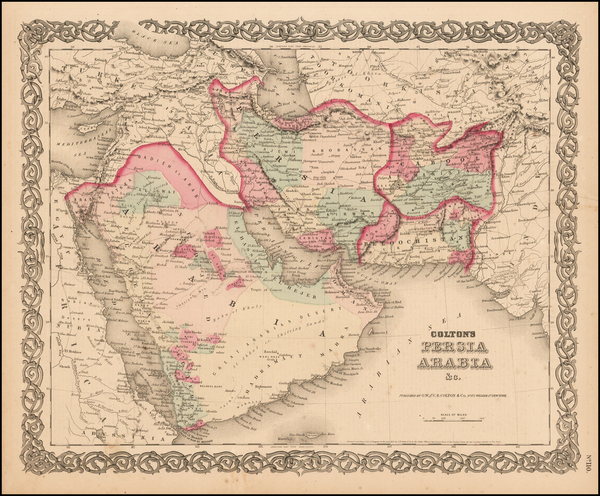 48-Central Asia & Caucasus and Middle East Map By Joseph Hutchins Colton