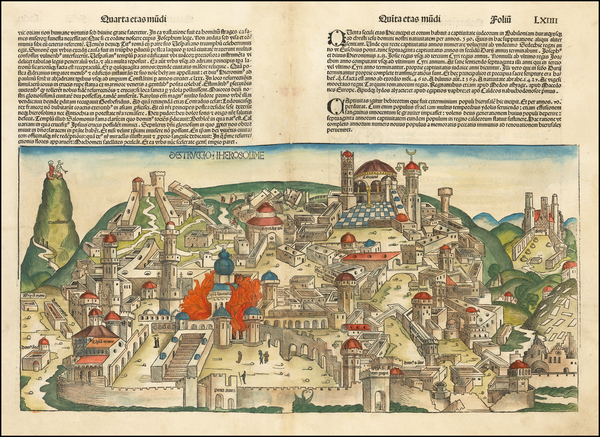 50-Holy Land and Jerusalem Map By Hartmann Schedel