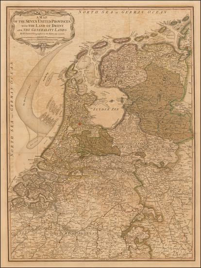 73-Netherlands Map By William Faden