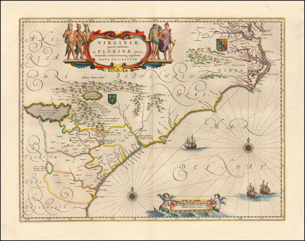 62-Southeast, Virginia, Georgia, North Carolina and South Carolina Map By Willem Janszoon Blaeu