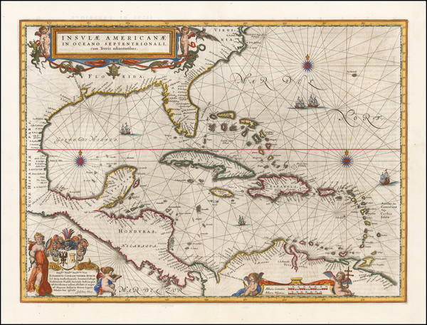 39-Florida, South, Southeast, Caribbean and Central America Map By Willem Janszoon Blaeu