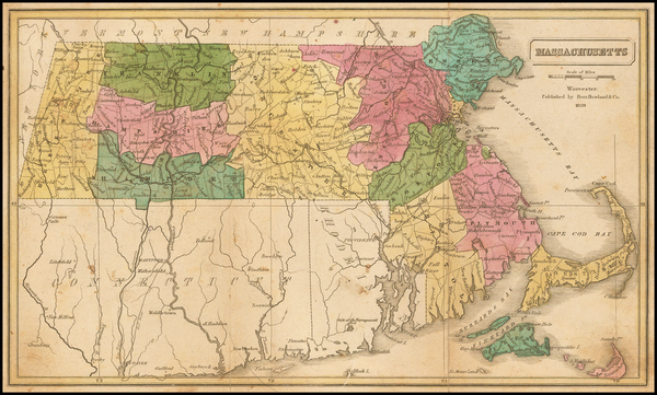 67-New England and Massachusetts Map By Dorr, Howland & Company