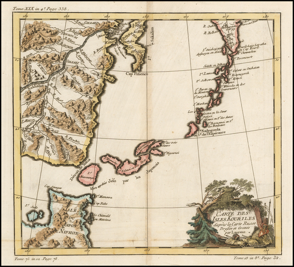 38-China, Japan and Russia in Asia Map By Jacques Nicolas Bellin