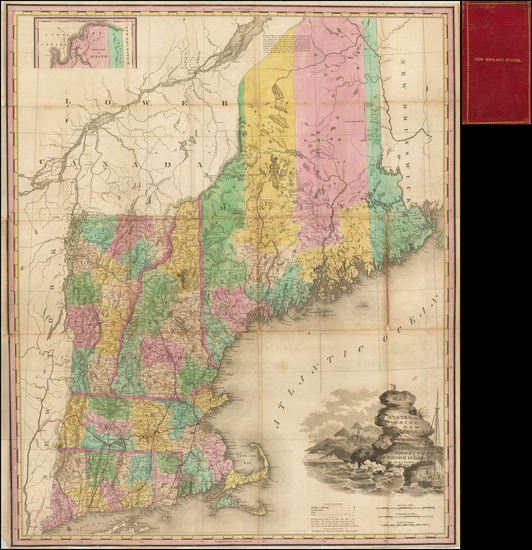 45-New England, Connecticut, Maine, Massachusetts, New Hampshire, Rhode Island and Vermont Map By