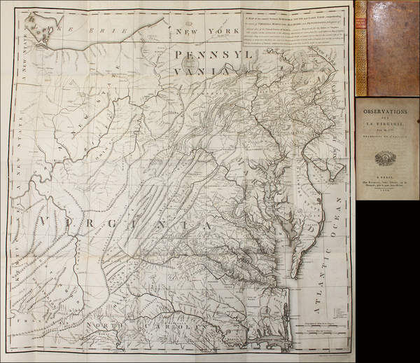 Mid-Atlantic, Pennsylvania, Maryland, Delaware, South, Southeast, Virginia and Rare Books Map By Thomas Jefferson