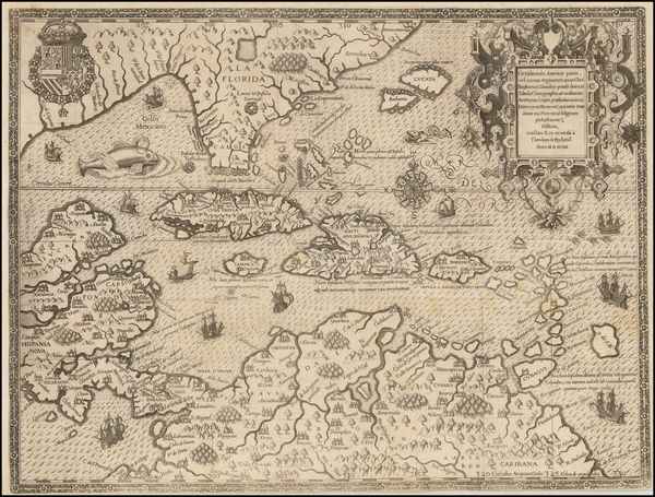 48-South, Southeast, Caribbean and South America Map By Theodor De Bry / Girolamo Benzoni