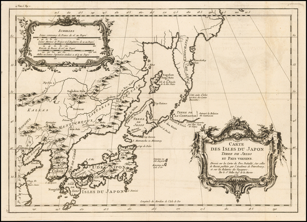 36-Japan and Korea Map By Jacques Nicolas Bellin