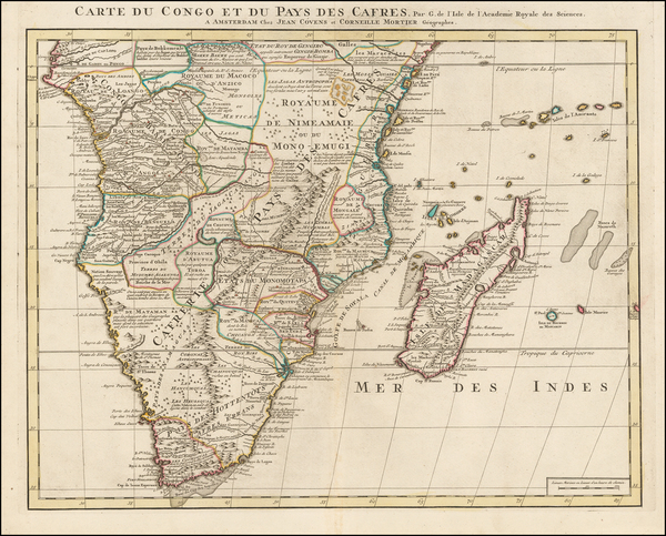 74-South Africa and East Africa Map By Johannes Covens  &  Cornelis Mortier