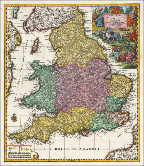 4-England Map By Matthaus Seutter