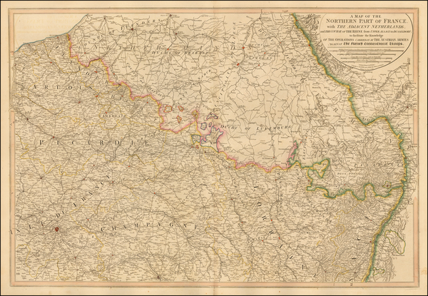 65-Belgium, Luxembourg, France and Germany Map By William Faden