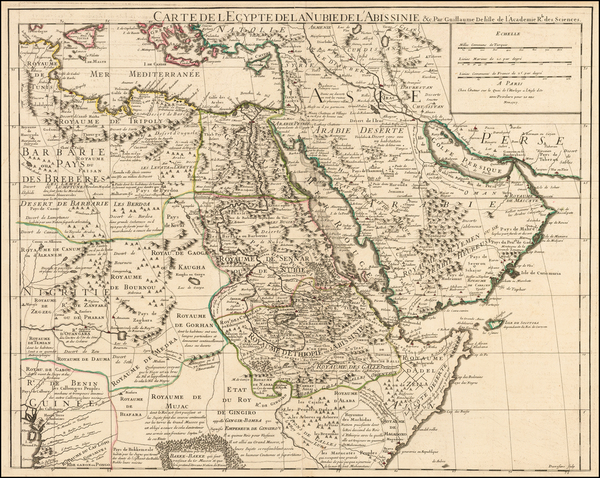 Middle East, North Africa and East Africa Map By Guillaume De L'Isle