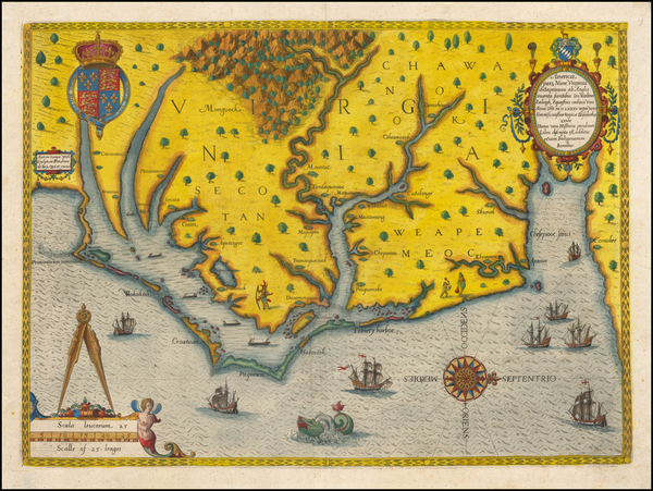 78-Mid-Atlantic, Southeast, Virginia and North Carolina Map By Theodor De Bry / John White