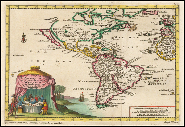 63-California as an Island and America Map By Pieter van der Aa