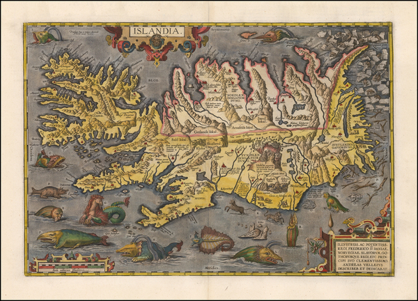 26-Atlantic Ocean, Iceland and Balearic Islands Map By Abraham Ortelius
