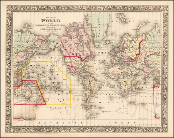 38-World and World Map By Samuel Augustus Mitchell Jr.