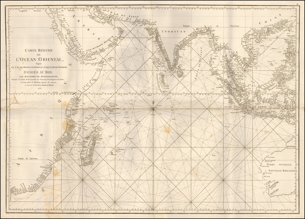 Indian Ocean, India, Southeast Asia, East Africa, African Islands, including Madagascar and Australia Map By Jean-Baptiste-Nicolas-Denis d'Après de Mannevillette