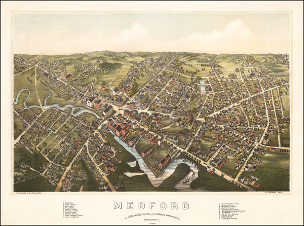 39-New England, Massachusetts and Boston Map By O.H. Bailey