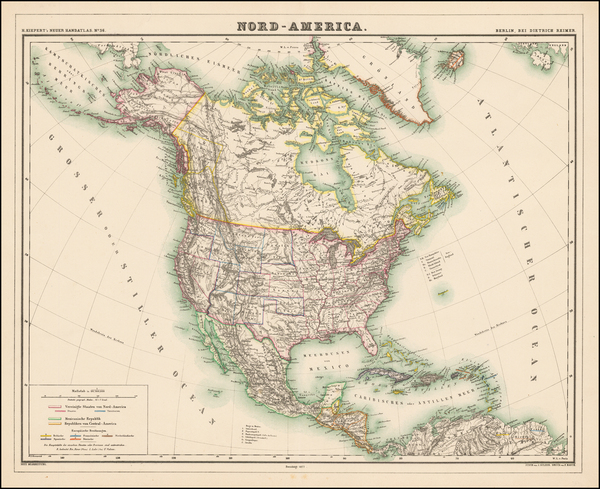 96-North America Map By Dietrich Reimer  &  Heinrich Kiepert