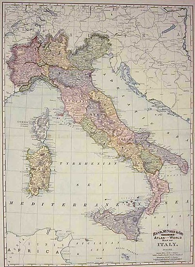 42-Europe and Italy Map By William Rand  &  Andrew McNally