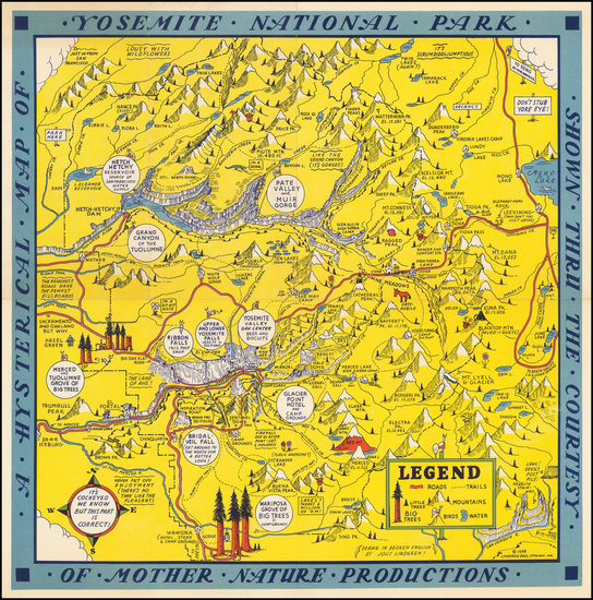 95-Yosemite Map By Lindgren Brothers